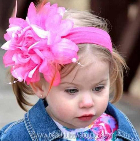 Large Hot Pink Flower Feather Baby Headband