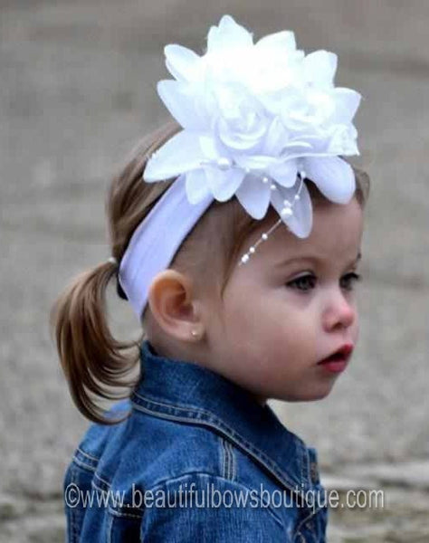 Newborn Vintage White Baby Toddler Flower Headband