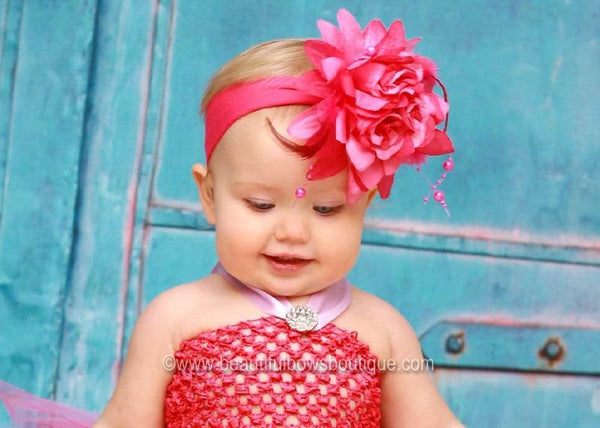 Fuschia Hot Pink Rose Flower Headband for Infants and Toddlers