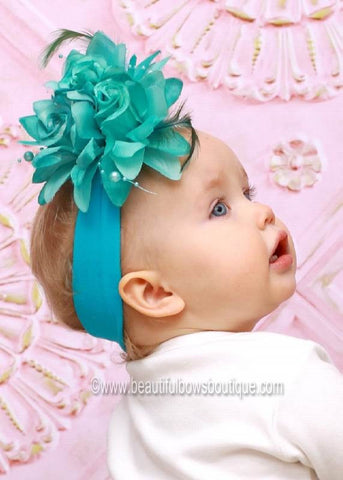 Aqua Turquoise Feather Flower Baby Headband