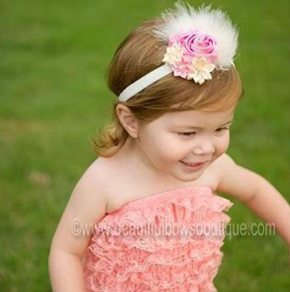 Satin Ivory and Pink Dazzle Rosette Hair Clip or Infant Headband