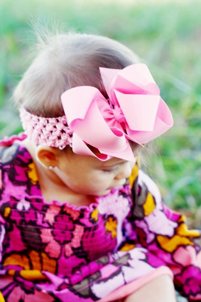 Pink Double Loop Grosgrain Girls Hair Bow Clip or Headband-CHOOSE COLOR