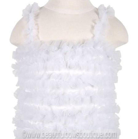 Girls White Chiffon Petti Tank Top