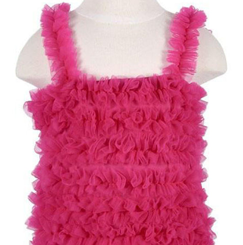 Girls Shocking Hot Pink Chiffon Petti Tank Top