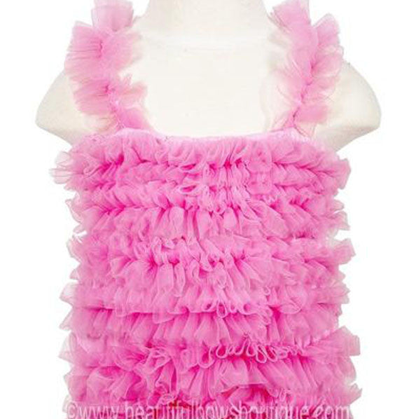 Girls Hot Pink Chiffon Petti Tank Top