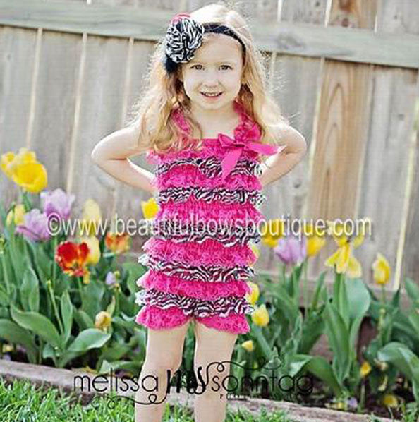 Girls Hot Pink Zebra Lace Baby Romper
