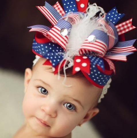 OTT Red White Blue Patriotic 4th of July Big Hair Bow Headband