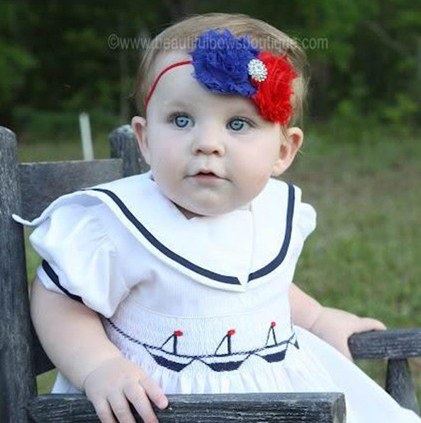 Shabby Flower Red Blue Patriotic Vintage Baby Toddler Headband