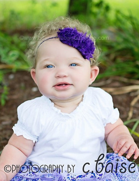 Shabby Chic Purple Baby Flower Headband