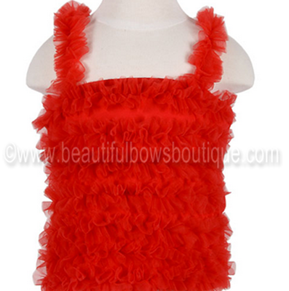 Girls Red Chiffon Petti Tank Top