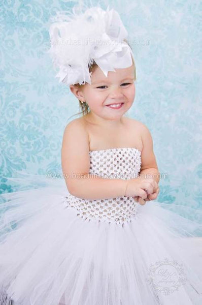Baby Toddler Solid White Crochet Tutu Dress