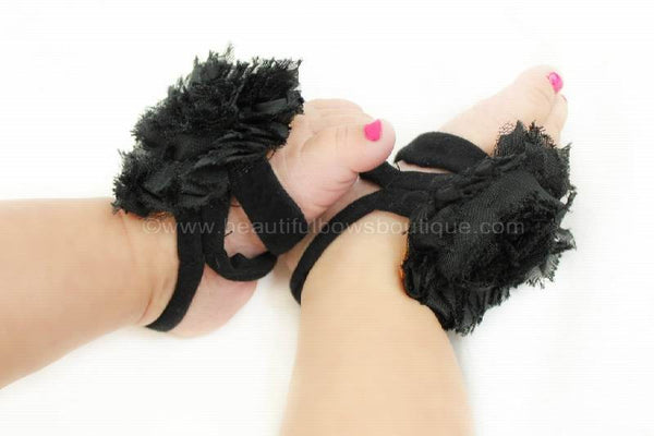 Black Toe Flower Baby Sandal Shoes