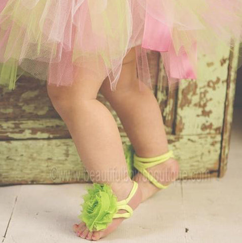 Lime Green Chiffon Fabric Flower Barefoot Baby Sandals