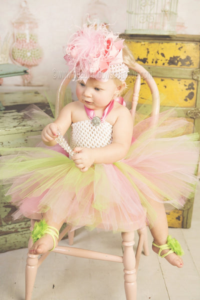 Buy Lime Green Chiffon Fabric Flower Barefoot Baby Sandals Online