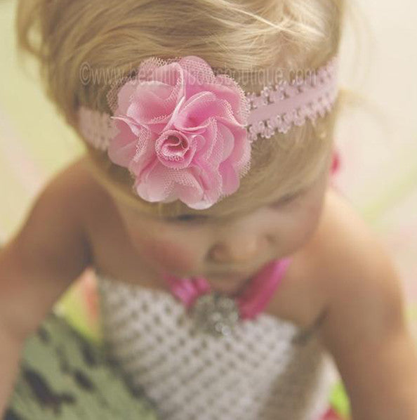 Lacey Pink Bloom Baby Flower Headband