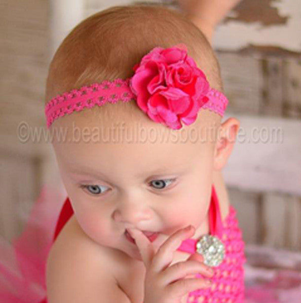 Lace Hot Pink Flower Headband, Stretch Flower Headband
