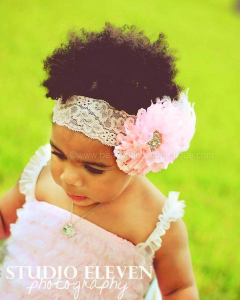 Buy Couture Light Pink Lace Feather Baby Headband Online