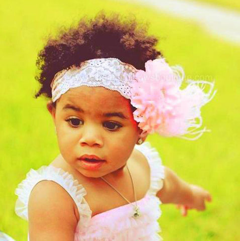 Couture Light Pink Lace Feather Baby Headband