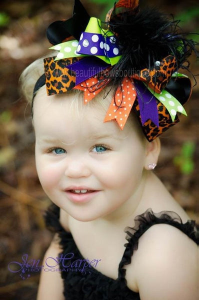 Buy Big Black Lime Orange Cheetah Leopard Halloween Over The Top Hair Bow Clip or Headband Online