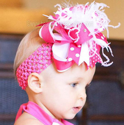 OTT Shocking Hot Pink White Baby Toddler Headband