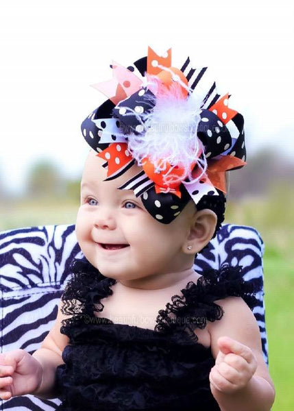 Buy Polka Dot Black and Orange Over The Top Hair Bow Clip or Headband Online