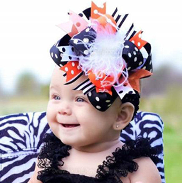 Polka Dot Black and Orange Over The Top Hair Bow Clip or Headband