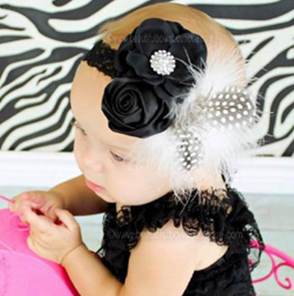 Elegant Black Ivory Off White Infant Baby Vintage Headband
