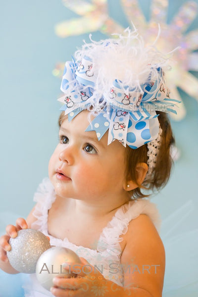 Buy Big Over the Top Blue Snowman Winter Holiday Girls Hair Bow or Baby Headband Online