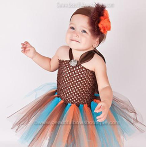 Fall Tutu Dress Orange Brown Turquoise for Toddler Newborn