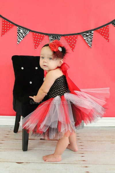 Buy Infants Red Black Feather Shabby Vintage Flower Headband Online