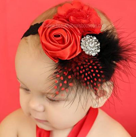 Infants Red Black Feather Shabby Vintage Flower Headband