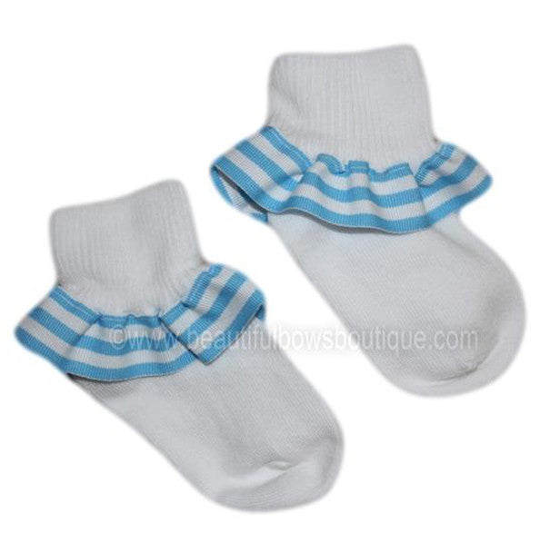 Turquoise White Stripe Ribbon Ruffle Socks