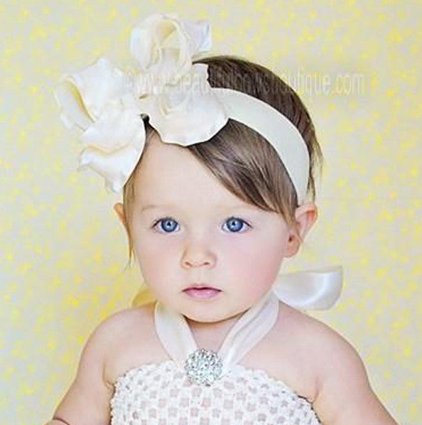 Large Ivory Ruffle Girls Hair Bow Clip or Baby Headband