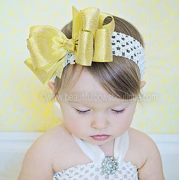 Large Sparkling Metallic Gold Big Bow Headband For Babies