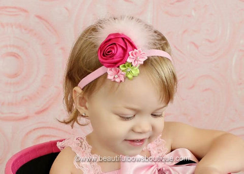 Spring Dazzle Fabric Rosette Hair Clip or Headband