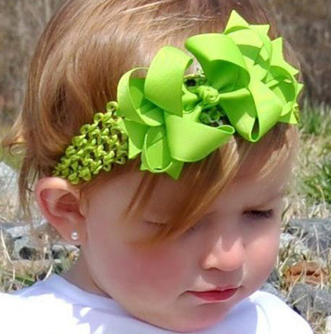 Dainty Lime Green Layered Girls Hair Bow Clip or Headband Set