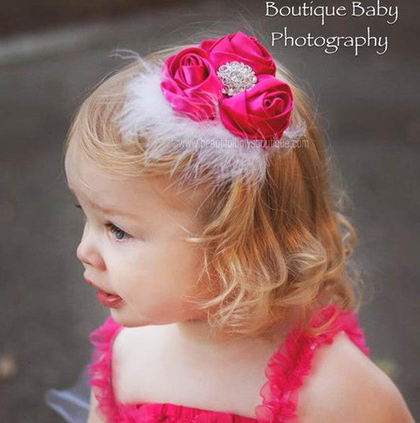 Infants Sweet Rose Hot Pink White Vintage Flower Headband
