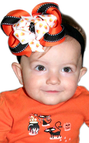 Halloween Candy Corn Girls Hair Bow Clip or Headband