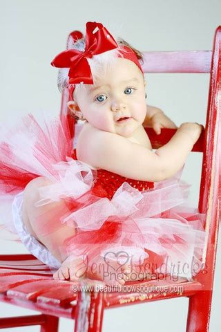 Girls Red and White Fluffy Infant Tutu Dress