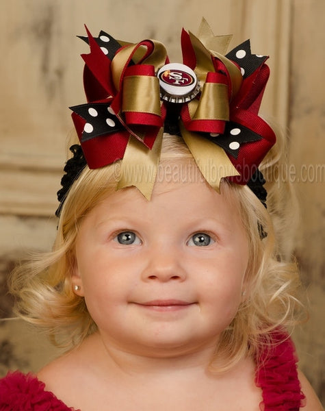Buy Fancy San Francisco 49ers NFL Hair Bow Clip or Baby Headband Online