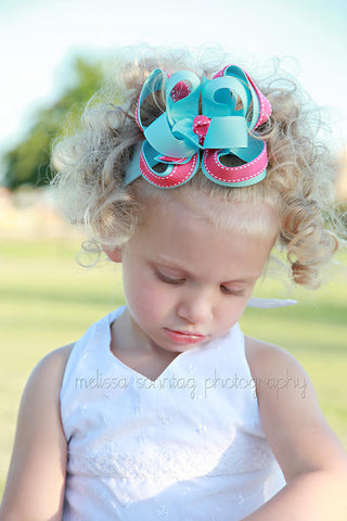 Baby Blue and Hot Pink Girls Hair Bow Clip or Headband