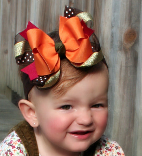 Large Fancy Fall Brown Orange Gold Hair Bow Clip or Baby Headband