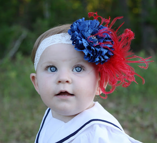 Vintage Lace Amari Rose Royal Blue Patriotic 4th of July Girls Red Feather Flower Clip or Headband