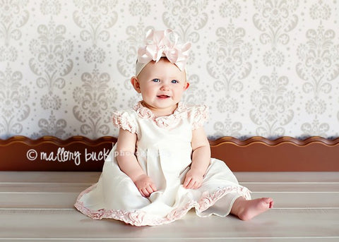 Pale Blush Pink Double Satin Boutique Girls Hair Bow Clip or Headband