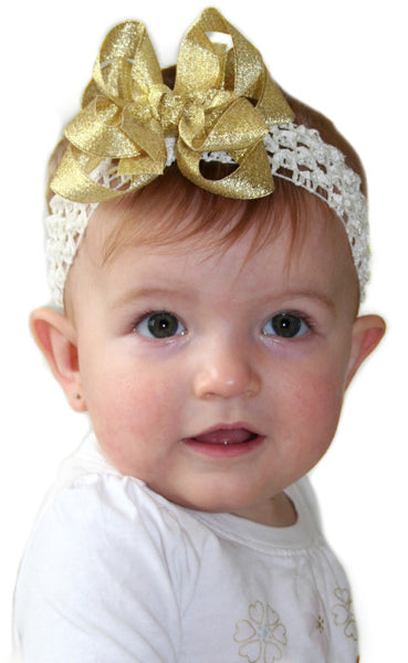 Buy Fancy Metallic Gold Infant Baby Bow Headband Online