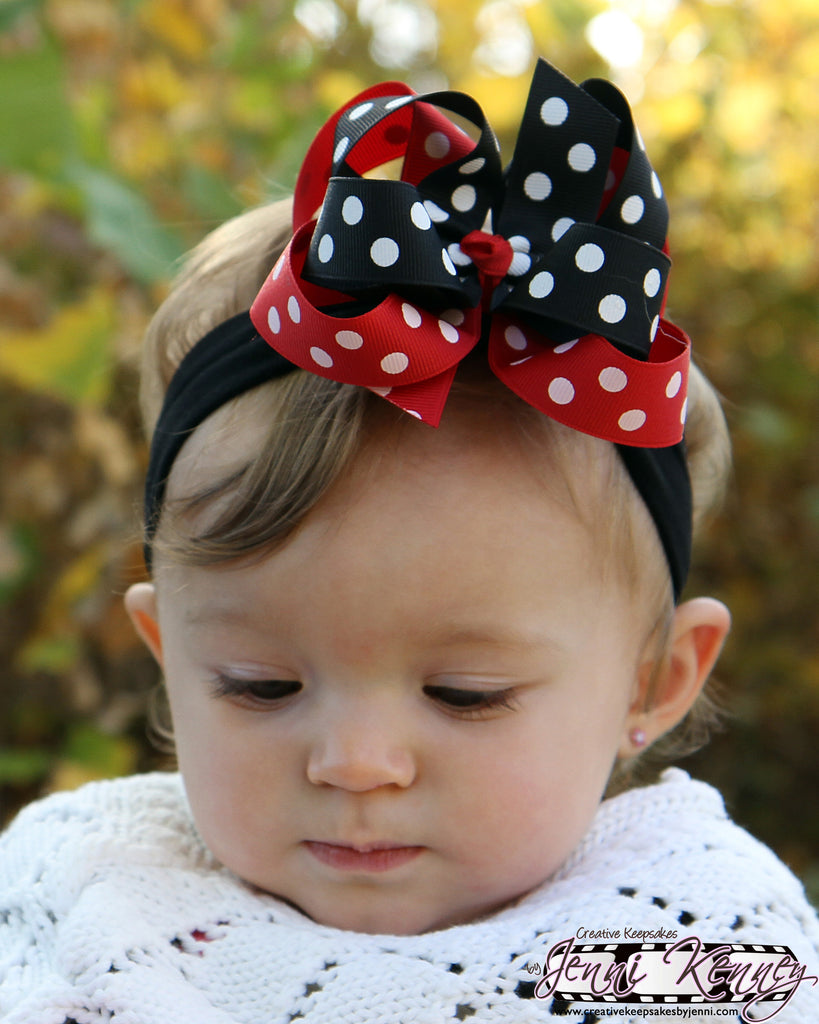 Red and Black Polka Dot Girls Hair Bow Clip or Headband