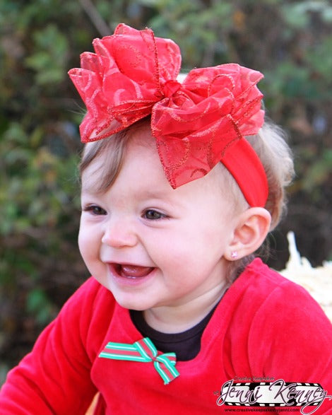 Large Red Sparkle Christmas Hair Bow or Baby Headband