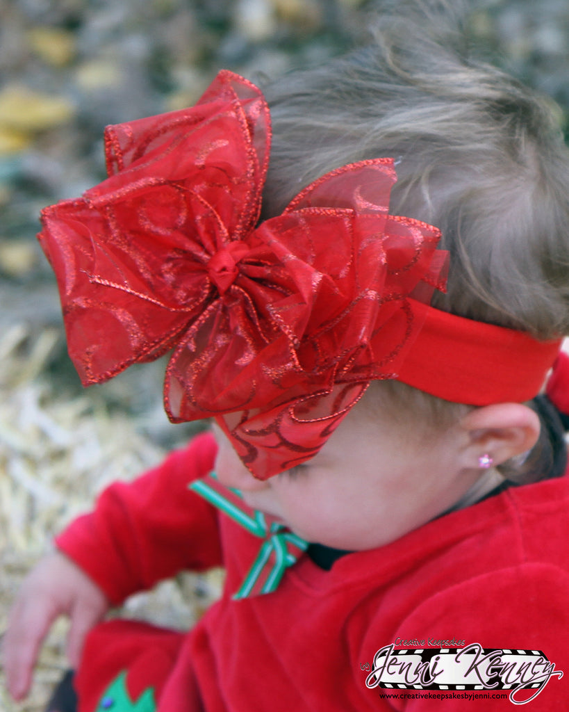 Buy Large Red Sparkle Christmas Hair Bow Or Baby Headband