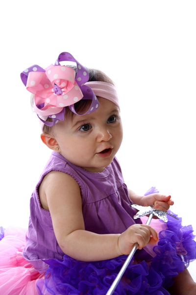 Pink Lavender Polka Dot Girls Hair Bow Clip or Headband