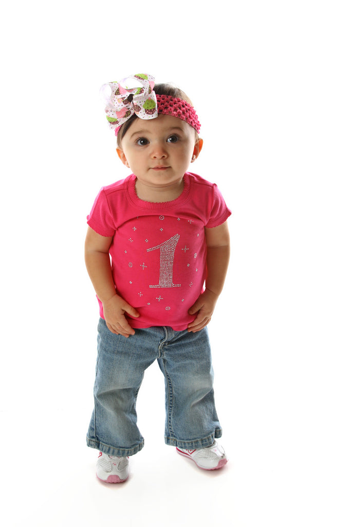 1st Birthday Rhinestone Shirt Baby Infant Toddler